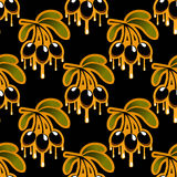 Seamless background pattern of olive oil dripping Royalty Free Stock Images