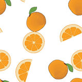 Seamless background pattern orange whole, sliced orange. Royalty Free Stock Photos