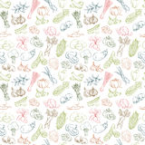 Seamless background pattern of organic farm fresh fruits and vegetables Royalty Free Stock Images