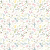 Seamless background pattern of organic farm fresh fruits and vegetables Stock Images