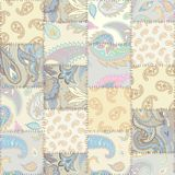 Geometric patchwork pattern of a squares. Seamless background pattern. Patchwork pattern with Paisley ornament patterns. Beige light colors. Ethnic indian style royalty free stock images