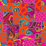 Geometric patchwork pattern of a squares. Seamless background pattern. Patchwork pattern with Paisley ornament patterns. Bright magenta and orange colors Stock Photos