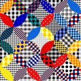 Imitation of a patchwork. Seamless background pattern. Patchwork pattern of circles Vector image stock illustration