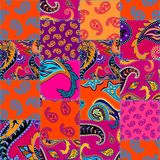 Geometric patchwork pattern of a squares. Seamless background pattern. Patchwork pattern with Paisley ornament patterns. Bright magenta and orange colors vector illustration