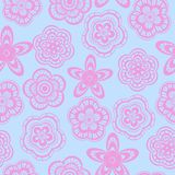 Seamless background pattern of pink flowers Stock Photos