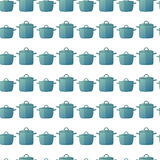 Seamless background with a pattern of pots. Seamless pattern of kitchen pots in a cartoon style. Background for kitchen Stock Image