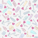 Cosmetics and beauty products with hearts Stock Photo