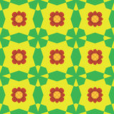 Seamless background pattern with red flowers. Seamless yellow and green background pattern with red flowers Stock Images