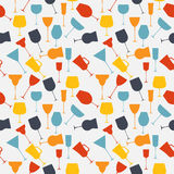 Seamless background pattern of retro alcoholic glass. Stock Images