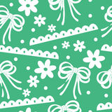 Seamless background pattern of ribbon bow and flower Stock Photography