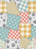 Seamless background pattern from scraps of fabric Royalty Free Stock Photos