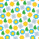 Seamless background pattern with season symbols Stock Image
