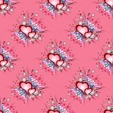 Seamless background pattern. Set of grunge hearts Stock Photo