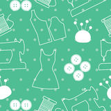 Seamless background pattern of sewing tools and objects Stock Photo