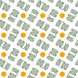 Seamless background pattern with signs symbolizing coins and money. Like coloured lettering inscription Sale on the white transparent background. Vector Royalty Free Stock Photos