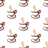 Seamless background pattern of steaming coffee. Seamless background pattern of a cup and saucer of steaming coffee in a brown and white doodle sketch with a Stock Photos