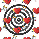 Seamless background pattern with a target of red hearts pierced Stock Images