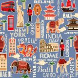 Seamless background pattern of tourist objects from different countries royalty free illustration