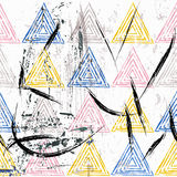 Seamless background pattern, with triangles, strokes and splashe. S Stock Photography
