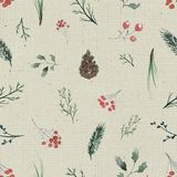 Watercolor background pattern with vintage flowers and twigs. Seamless background pattern with twigs, berries and fir cones. Watercolor hand drawn illustration Stock Images