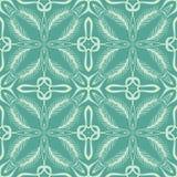 Cyan coloured leaf seamless pattern background illustration Stock Image