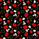 Seamless background pattern with various pizza ingredients Stock Photos