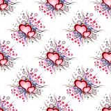 Seamless background pattern. Set of grunge hearts Stock Image