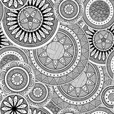 Seamless background with patterned circles. Seamless abstract background with patterned circles. Black and white, vector illustration Royalty Free Stock Photos