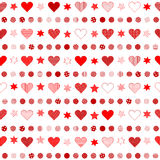 Seamless background with patterned hearts, dots and stars Royalty Free Stock Photography