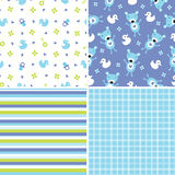 Seamless background patterns in blue and green. Set of four seamless retro style background patterns for boys Royalty Free Stock Images