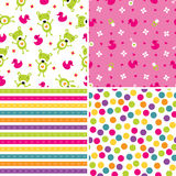 Seamless background patterns in pink and green. Set of four seamless retro style background patterns for girls in pink and green Royalty Free Stock Photo
