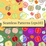 Seamless background patterns set with apples Stock Photo
