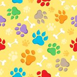 Seamless background with paws 1. Vector illustration Stock Photography