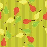 Seamless background with pears. On green Royalty Free Stock Photography