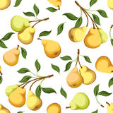 Seamless background with pears. Royalty Free Stock Photo