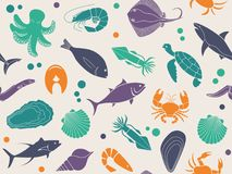 Seamless background with pictures of seafood. Seamless background with pictures of fish and seafood Stock Photo