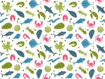 Seamless background with pictures of seafood. Seamless background with pictures of fish and seafood Stock Photography