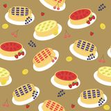 Seamless background with pies and fruits Stock Image