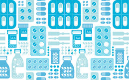 Seamless background with pills silhouettes. Royalty Free Stock Image