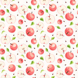 Seamless background with pink apples. Seamless background with pink apples, leaves and seeds Royalty Free Stock Image