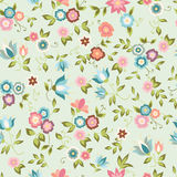 Seamless background with pink and blue flowers. Floral pattern. EPS10 vector illustration Stock Photography