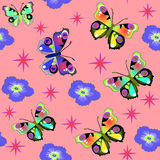 Seamless background with pink butterfly flower Royalty Free Stock Photos