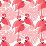 Seamless  Background. Pink Flamingo On A Tropical Background.