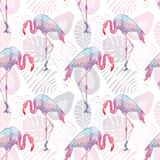 Seamless background of pink flamingos with leaves and flowers and fruits Stock Photography