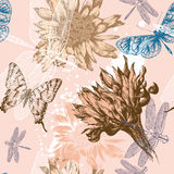 Seamless background with pink flowers blooming, bu. Tterflies and dragonflies, hand-drawing royalty free illustration