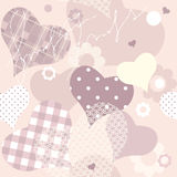 Seamless background of pink hearts Stock Images