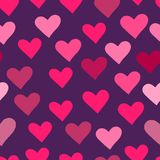 Seamless background with pink hearts Stock Photos