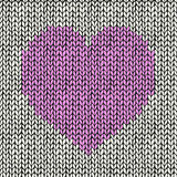 Seamless background with pink knitted heart Royalty Free Stock Photos