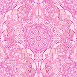 Seamless oriental boho pattern. Seamless background with pink mandala. Gypsy, ethnic boho design, Indian or Arabic motifs, arabesque tiled vector pattern stock illustration