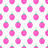 Seamless background with pink raspberry. Cute vector raspberry pattern. Summer fruit illustration on polka dots background. Design for textile, wallpaper, web Royalty Free Stock Image
